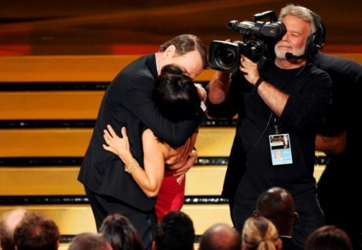 Kisses & tears at the Emmy Awards
